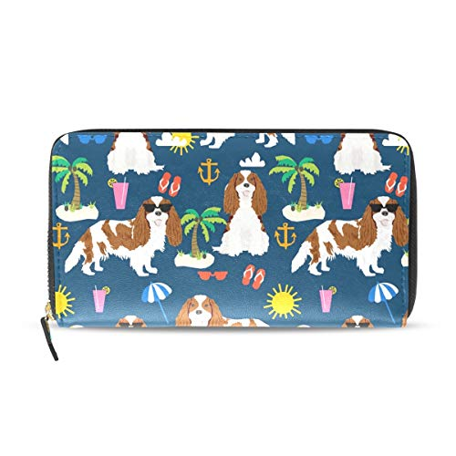 Wallet Clutch Cavalier King Charles Spaniel Blue - Card Cases Money Organizers, CuiLL PU Leather Handbag for Men Women