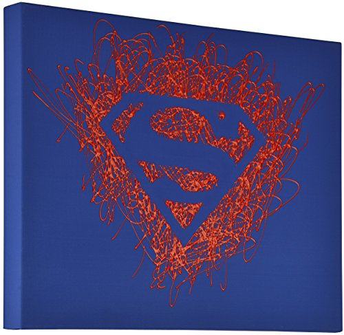 Edge Home Products Superman Logo Paint Splatter Canvas 16 by 20 2 Inch Depth - Superman Wall Logo