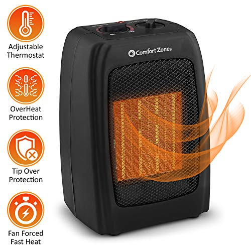 BOVADO USA Portable 166648 Ceramic Space Heater, Personal Warming Fan with Adjustable Thermostat, Carrying Handle Safety Features-by Comfort Zone Black , 10 x 6 x 6