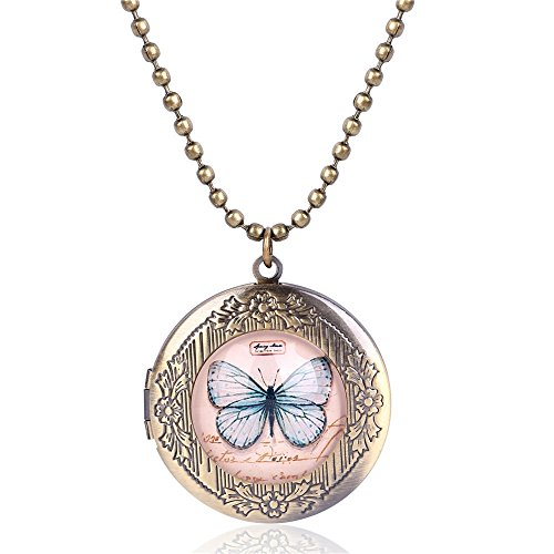 Pink Butterfly Photo Locket Necklace Bronze Tone Gift For Women Girl Kids