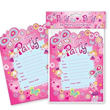 Pack of 20 fairy birthday party invitation cards invites with pack of 20 fairy birthday party invitation cards invites with envelopes princess fairy themed birthday stopboris Image collections