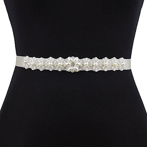 Azaleas Women's Pearl Crystal Bridal Sash Belts Wedding Belt Sashes for Wedding Dress ()