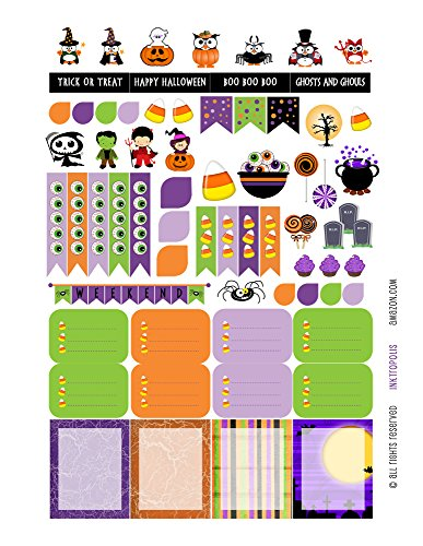 Halloween Sampler Monthly Planner Stickers Labels Compatible with Erin Condren Vertical Life Planner -