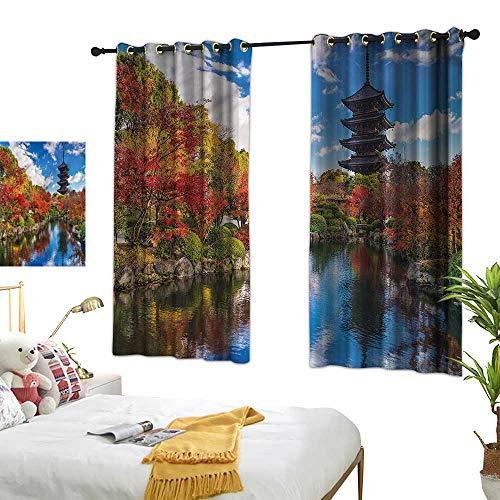 Warm Family Japanese Fashionable Curtains Pagoda Kyoto Fall Season Noise Reducing 63
