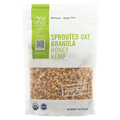 (One Degree Organic Foods Sprouted Oat Hemp Granola - Honey - Case of 6 - 11 oz.)