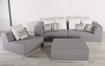 Salon de jardin 5 places modulable, aluminium et tissu traité ...