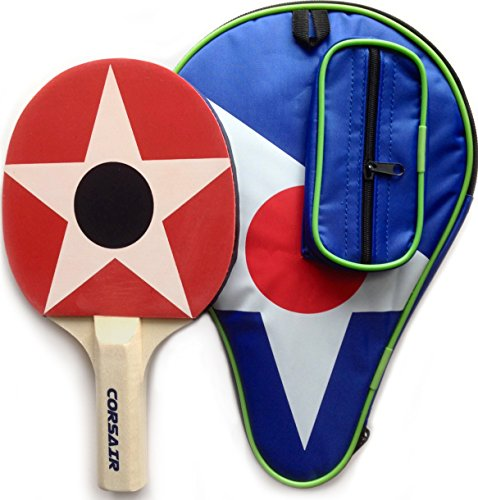 Top Spin Racquets (CORSAIR Ping Pong Paddle with Carry Case. High Performance Single Table Tennis Racket with Top Control, Feel and Spin.)