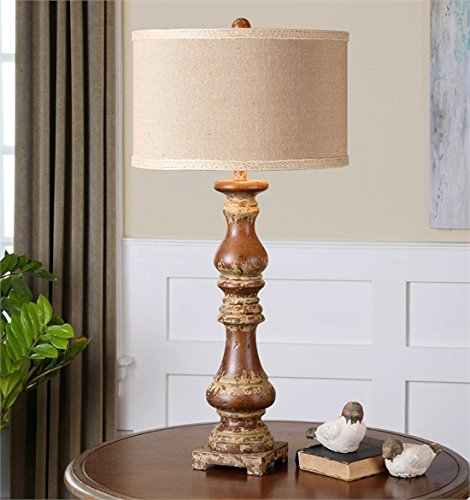Ambient Solid Wood Turnings Finished In An Rustic Dark Pecan Stain With Heavily Antiqued Distressed Ivory Details Dark Pecan Lamps