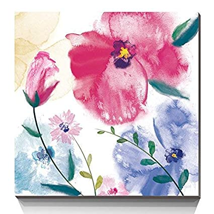74ba9598c2359 3Hdeko - Abstract Pink Flower Wall Art Watercolor Orchid Picture Artwork  Modern Wall Decor for Living Room Teen Girl Bedroom Bathroom Purple Floral  ...