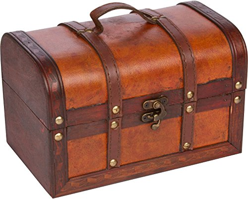 Trademark Innovations Small Wood and Leather Decorative Chest -