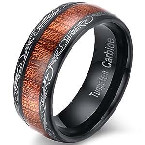 Mens Womens 8mm Black Tungsten Carbide Ring Wedding Engagement Band Grain Lasered Edges KOA Wood Inlay Comfort Fit (5)