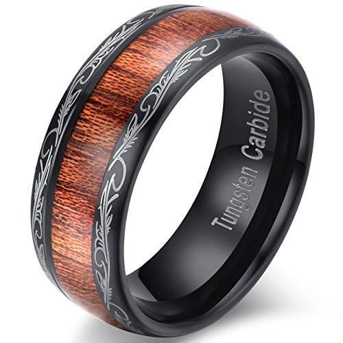 mens-womens-8mm-black-tungsten-carbide-ring-wedding-engagement-band-grain-lasered-edges-koa-wood-inl