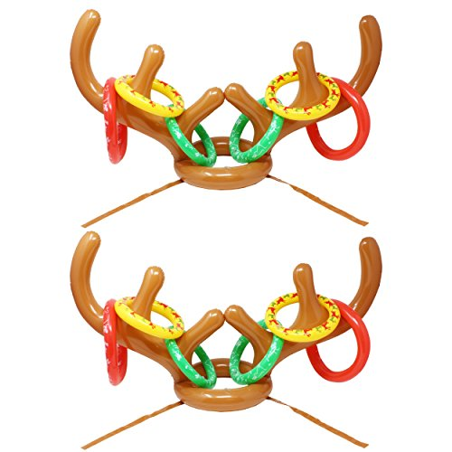 JOYIN Set of 2 Inflatable Reindeer Antler Toss Game for Christmas Party-One Size Fit All (2 Antlers 12 Rings)]()