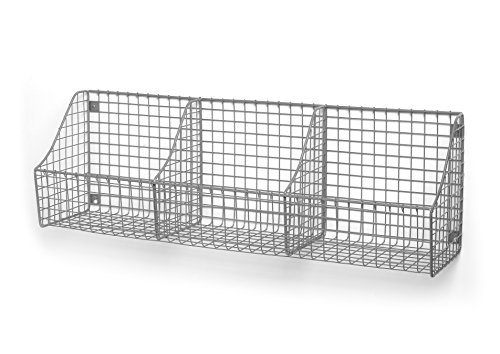 Spectrum Diversified Wall Mount Triple Storage Basket, Satin Nickel (Storage Divided Shelf)