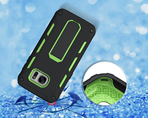 Funda Galaxy S7 edge,Saincat TPU Silicona con Diseño 3D Carcasa Case con Stand Holder Bumper Case con integrado Soporte Soporte Anti-Drop Shockproof Slim Funda caso Parachoques Silicona Transparente T Verde