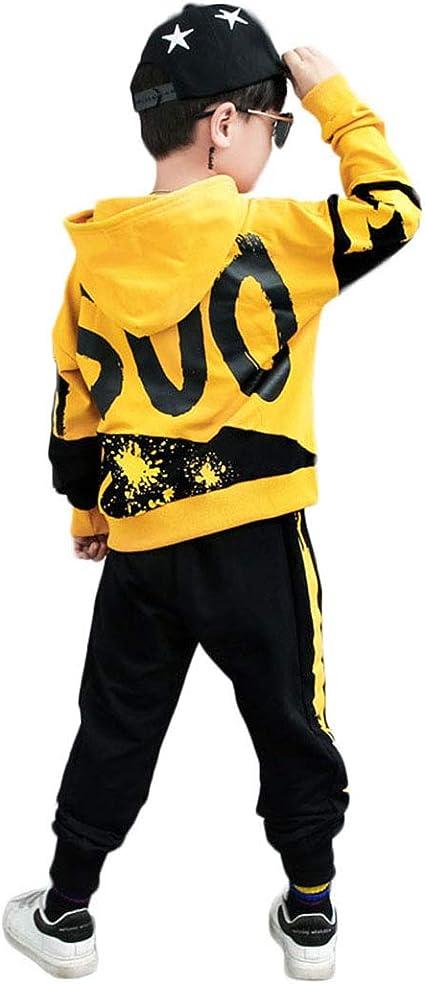 Tuta da Ginnastica Ragazzo Sportiva Giacca con Cappuccio Abbigliamento Sportivo 2 Pezzi Felpa Bambino per Jogging Training Pantaloni Allenamento Casual 3-11 Anni