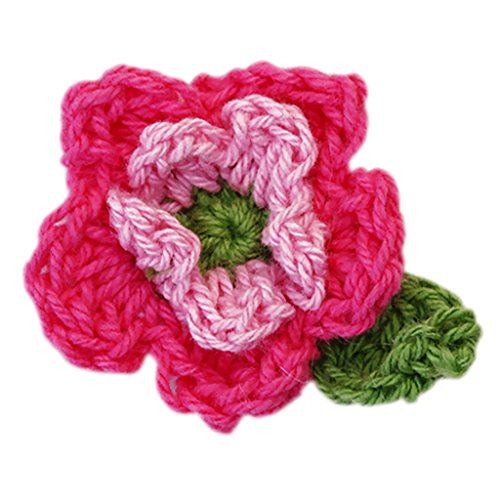 10pcs 5-petal 2-layer Handmade Crochet Flower Appliques Sewing Craft - Rosy Pink and ()