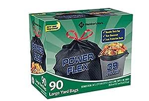 Member's Mark 39 Gallon Power-Guard Drawstring Yard Bags 3 Pack (90 Count Each) Mark 39 gal. Power