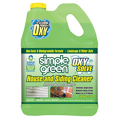 SIMPLE GREEN Oxy Solve House and Siding Pressure Washer Cleaner - Removes Stains from Mold & Mildew on Vinyl, Aluminum, Wood, Brick & Stucco - Concentrate 1 Gal.