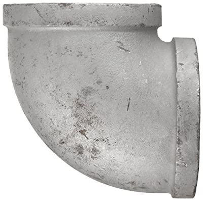 Anvil Malleable Iron Pipe Fitting, Class 150, 90 Degree Elbow, NPT Female, Galvanized Finish