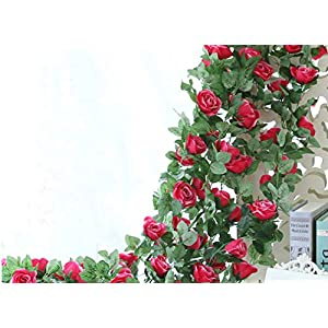 Lannu 2 Pack Artificial Rose Vine Flowers Fake Garland Ivy Flowers Silk Hanging Garland Plants for Home Wedding Party Decorations 2