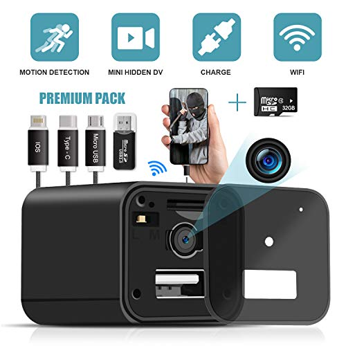Hidden Camera Charger WiFi,USB Spy Camera Charger,Spy Camera Wireless Hidden 1080P HD Live Streaming with App, Nanny Cam Motion Activated,with 32GB MicroSD Card Class 10