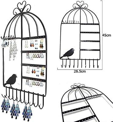 Organizador Ganchos de Suspensión de Pared Forma de Jaula de Pájaros Cerro Colgado Pendiente Titular de la Joyería Collar de Soporte de Exhibición del Estante (NEGRO)