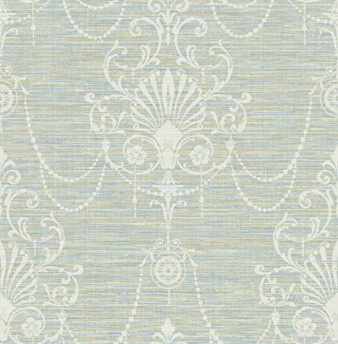 Linen and Pearls Wallpaper in Vintage Blue RV20807 from Wallquest