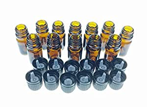 Wild Essentials 5ml Amber Glass Bottles with Euro Dropper Caps (12 Pack) - Great for Essential Oils, Perfumes and DIY Aromatherapy - Easy to Fill, Clean and Reuse - Protective and Durable