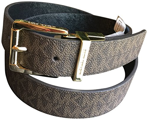 Michael Kors Women's Buckle Solid Black Logo Brown Reversible Belt Small - Michael Kors Brown Belt