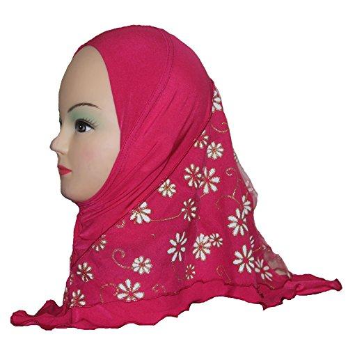 Cogongrass Girls Kids Muslim Hijab Islamic Arab Scarf Shawls Flower Pattern for 3 to 8 years old Girls