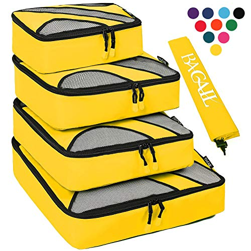 4 Set Packing Cubes,Travel Luggage Packing Organizers with Laundry Bag Yellow