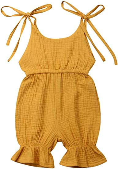Fartido Baby Boys Girls Solid Color Overall Harem Straps Romper Jumpsuit Clothes Outfits