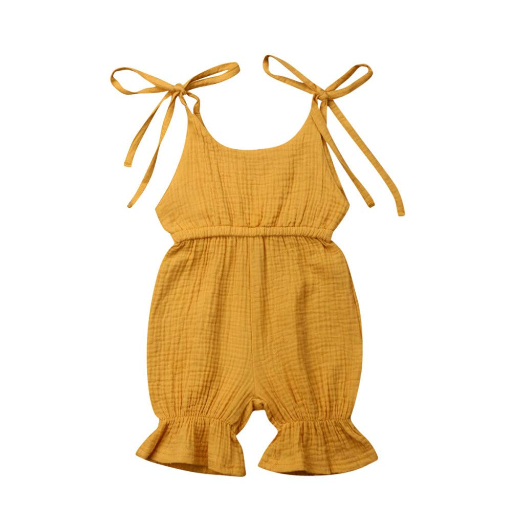 Summer Baby Girls Sleeveless Romper Fartido Jumpsuit Strap Solid Color Candy Color One-Piece