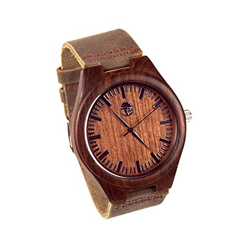 Men's Wood Watch, Natural Bamboo and Sandalwood with Quartz Movement, Genuine Leather Strap … (Dark) -