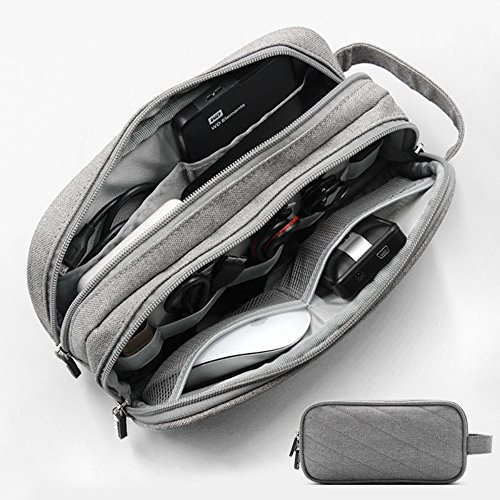 Honeystore Double Layer Electronic Cord Organizer Travel Case Gadget Organizer Bag Electronics Accessories Storage for Mouse, USB Cable, Plug, Flash Drive, Power Bank, Earphone and More Black by Honeystore (Image #2)