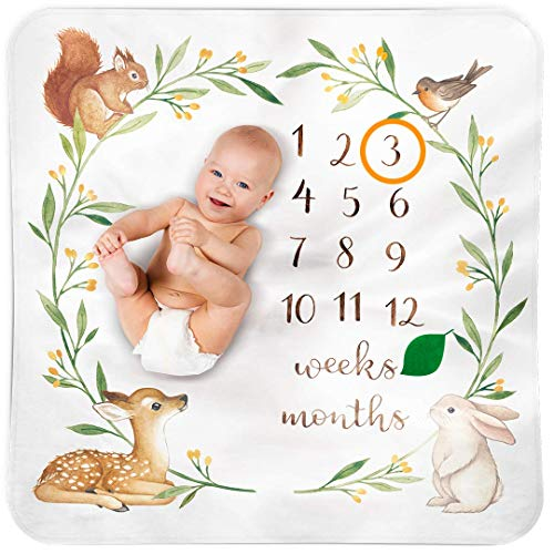 Bubzi Co Baby Monthly Milestone Blanket | Watch Me Grow Woodland Nursery Décor | European Design 47 x 47