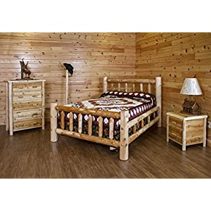 Rustic White Cedar Log Bedroom SetBed, 5 Drawer Chest, Nightstand & Coat Tree- Amish Made USA