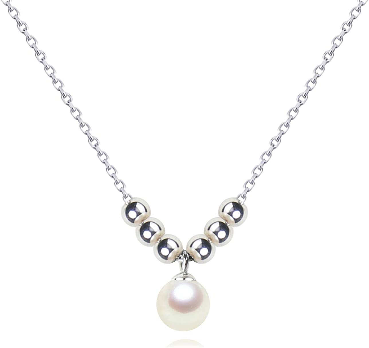 18 925 Sterling Silver Chain 7-8mm Single White Round Freshwater Cultured Pearl Necklace