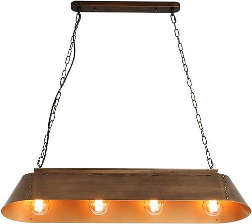 Lámpara de la Vendimia Industrial 4-Heads Loft Hierro Forjado de Techo de la lámpara Pendiente Retro Bar Isla Cocina Lámpara Colgante Restaurante sobre la Mesa de iluminación E27 latón Metal Pantalla: Amazon.es: