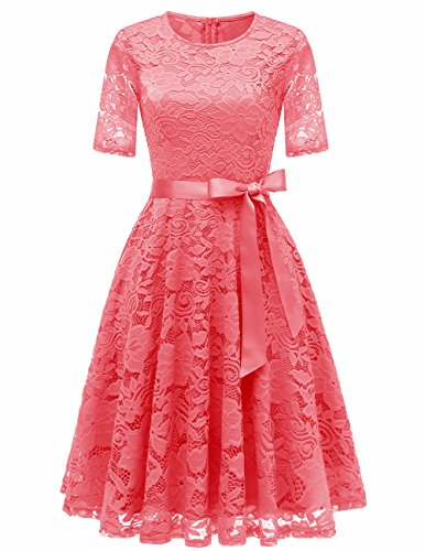 DRESSTELLS Short Bridesmaid Scoop Floral Lace Dress Cocktail Formal Party Dress Coral Size -