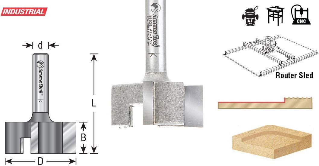 Broca fresadora de 3 flautas con punta de carburo de 1-1//8 de di/ámetro x 1//2 de altura de corte x 1//4 de v/ástago x 1-19//32 pulgadas de largo Amana Tool 45525