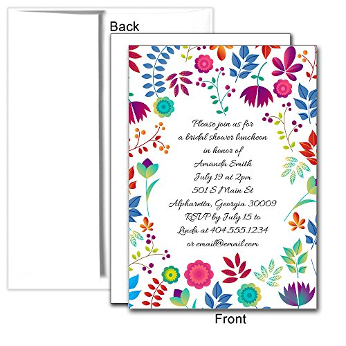 Spring Floral Personalized Custom Invitations, 25ct - Great for Birthday Party, Baby Shower or Bridal Shower
