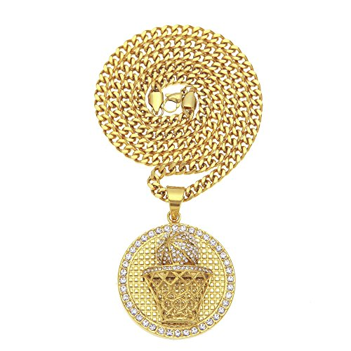 1532b215e2db MCSAYS Hiphop Collares Caja de Baloncesto Redondo Diamante Colgante Cadena  Cubana Acero Inoxidable Oro Creativo Sportcollar