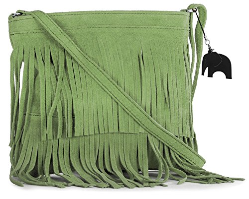 Lime Womens Leather Green Small Bag LIATALIA Size Tassle ASHLEY Shoulder Suede Fringe vd6wC6q