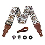 Guitar Strap Embroidered Vintage Woven W/FREE BONUS- 2 Picks + Strap Locks + Strap Button. For Bass, Electric & Acoustic Guitars. The Best Guitarist Gift By Art Tribute Life Time Warranty