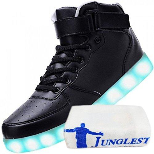 (Present:kleines Handtuch)JUNGLEST Neu Damen Sneakers Leuchtende Blinkende Schuhe Led Light Licht Farbwech Schwarz