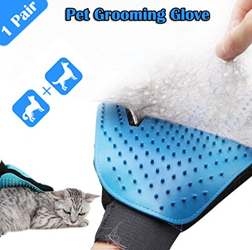 Pet Grooming Glove, Hair Removal Brush Glove For Dogs, Cats Hair Remover Tool Products, Perfect horse hair remover, Best Gentle Efficient Shedding Kit System Device For Animal (1 Pair)