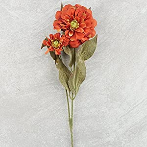 Factory Direct Craft Group of 10 Artificial Rustic Orange Colored Zinnia Floral Sprays for Crafting, Creating and Embellishing 3