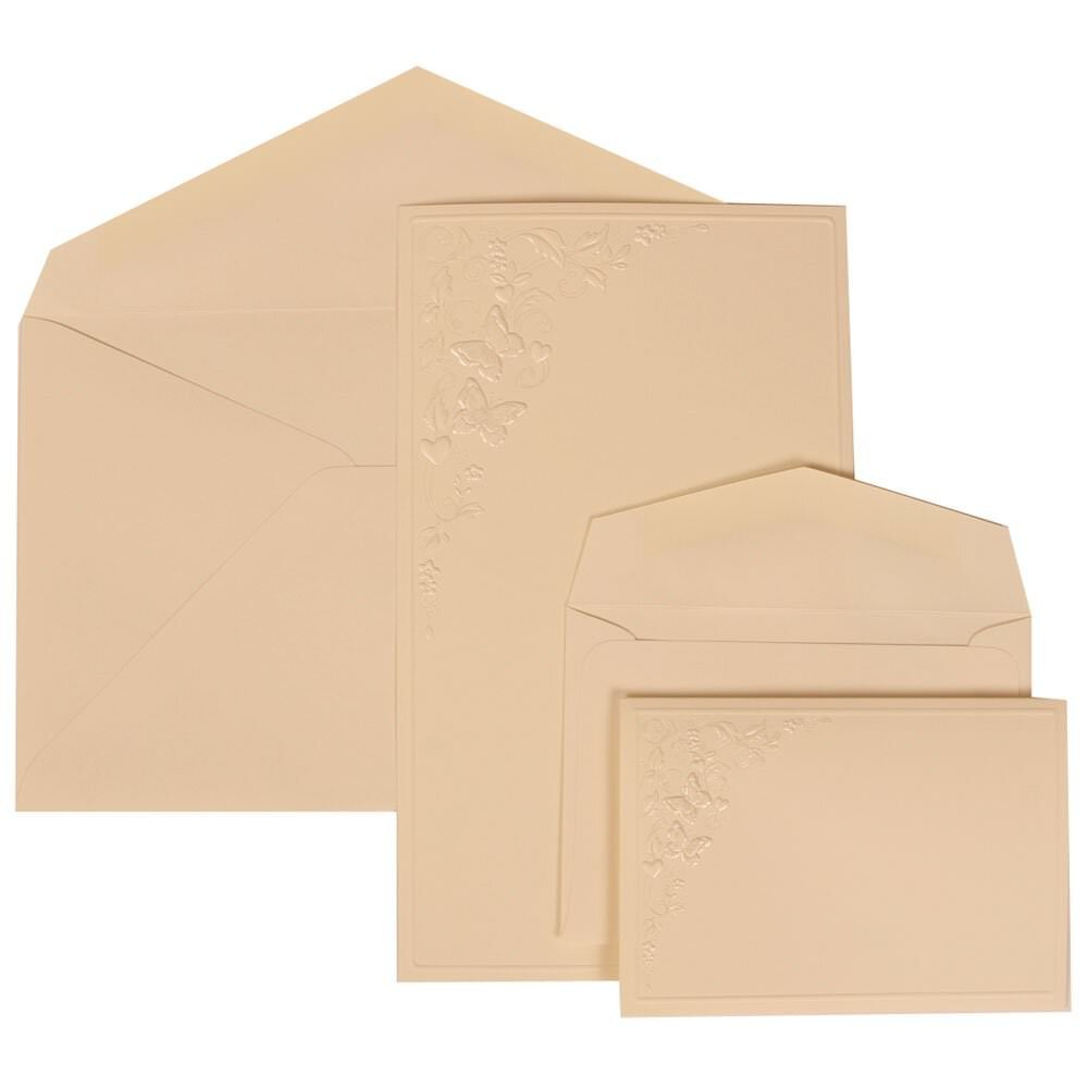 JAM Paper Wedding Invitation Combo Sets - 1 Small & 1 Large - Ivory Card with Ivory Envelope with Butterfly Vines - 150/pack